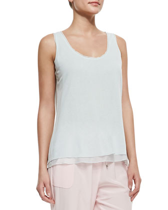 Follia Double-Layer Scoop-Neck Tank, Soft Sky