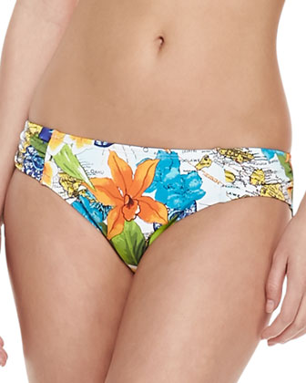 Map & Floral-Print Shirred Hipster Swim Bottoms