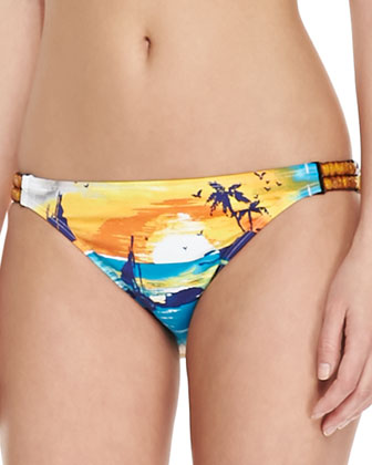 Tequila Sunrise Bead-Detail Bikini Bottoms