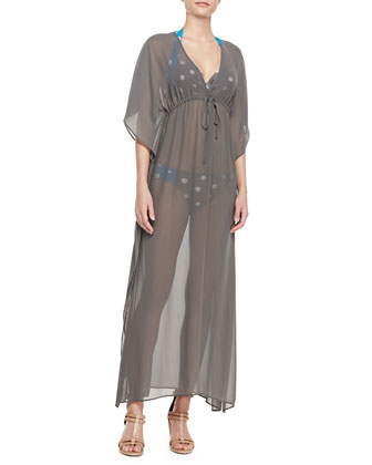 Georgette Short-Sleeve Long Caftan Coverup