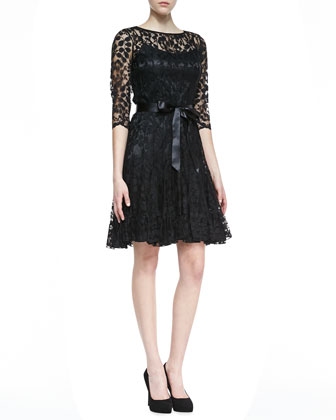 3/4-Sleeve Lace Overlay Cocktail Dress, Black
