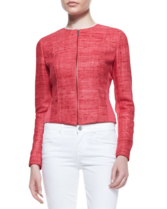 Amy Silk & Knit Long-Sleeve Jacket & Mona Embroidered Cropped Jeans