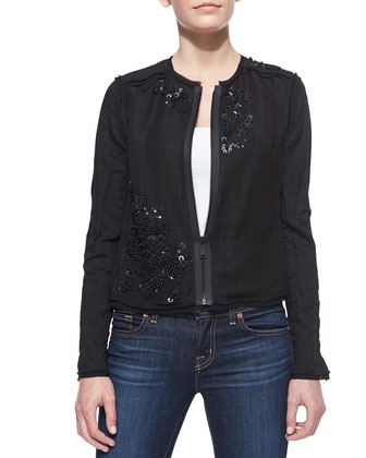Pearson Sequined Zip-Front Jacket