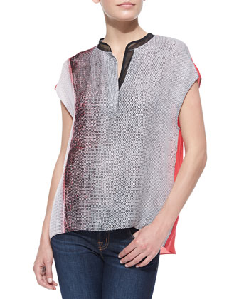 Decklan Short-Sleeve Horizon-Print Blouse