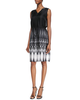 Rema Sleeveless Ombre Ikat-Print Dress