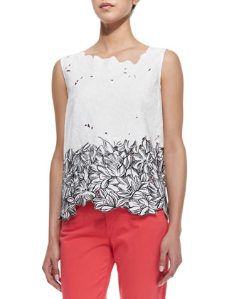 Roony Sleeveless Outlined Lace Top, Black/White