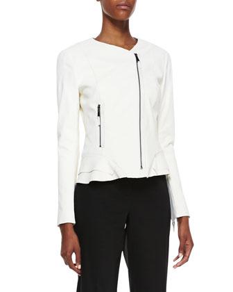 Erin Silk Peplum Moto Jacket, Ivory