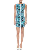 Mila Printed Front-Zip Dress, Space Blue
