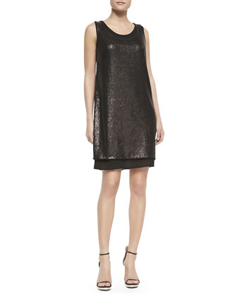 Leanna Sleeveless Shift Dress, Black