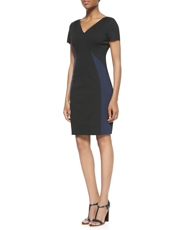 Womens Clara V Neck Colorblock Dress   Elie Tahari   Black/Navy yard (2)