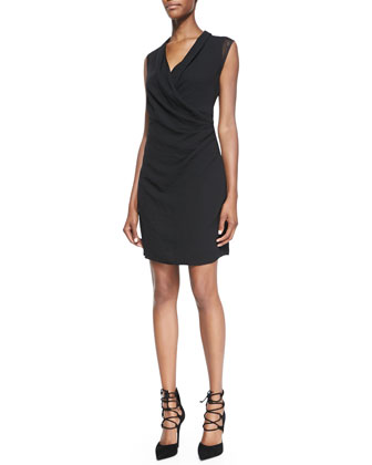 Kinsley Mesh-Sleeve Draped Dress