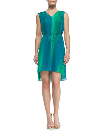 Dorene Sleeveless High-Low Silk Dress