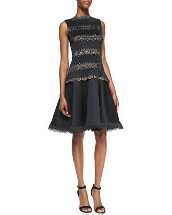 Sleeveless Fit-&-Flare Lace Dress