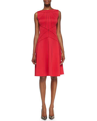 Sleeveless Seamed A-line Cocktail Dress