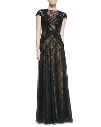 Cap-Sleeve Lace Overlay & Floral Appliqu?? Gown