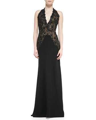 Halter Beaded Lace-Bodice Gown