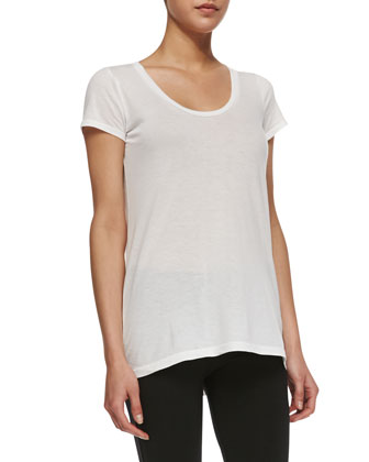 Splendid Classics Very Light Jersey High-Low Tee, White