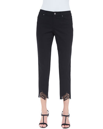 Talisa Cropped Jeans with Leaf Cuffs, Black