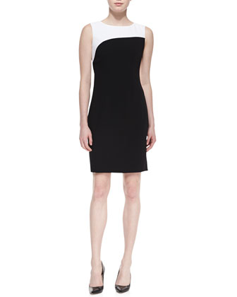 Zehal Sleeveless Swirl Sheath Dress, Black/White
