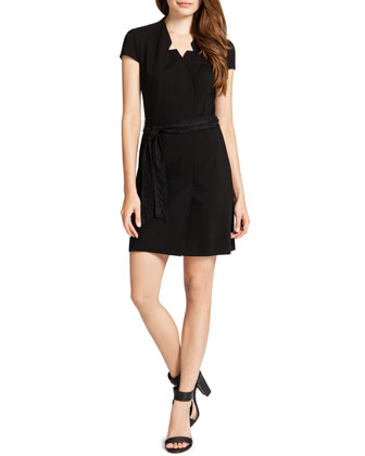 Asia Faux Wrap Dress, Black