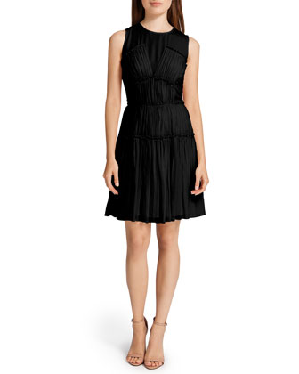 Winslet Tiered Crinkled Dress, Black