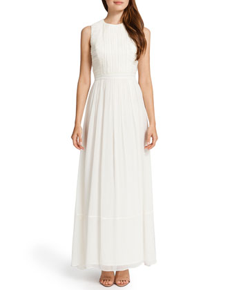 Antonella Sleeveless Crinkle-Top Maxi Dress, Light Cream