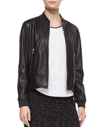 Leather Skid Pan Jacket, Black