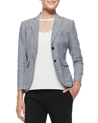 Nancy Linen-Blend Blazer, Franklin Cutout-Yoke Crepe Top & Park Cropped ...