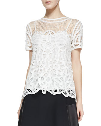 Nancy Sheer Netted/Lace Blouse & Montrose Flared Leather-Panel Skirt