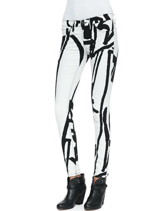 Noah Tape-Pattern Cropped Tee and The Legging Jeans, White Robot