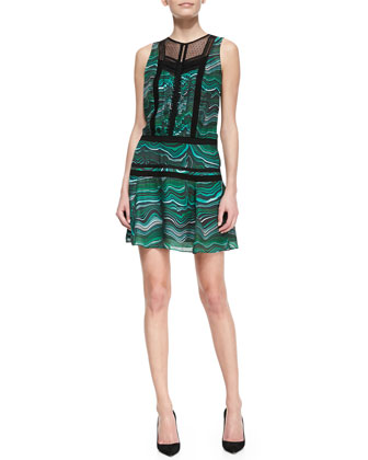 Lace-Panel Printed Silk Dress