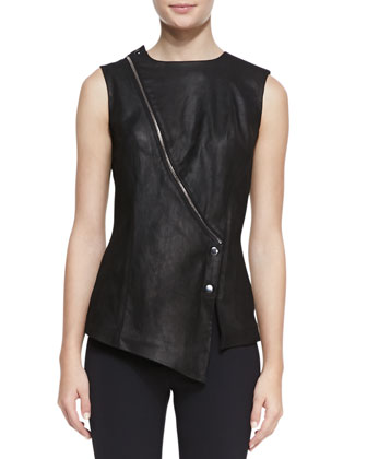 Leather/Scuba-Knit Asymmetric Top