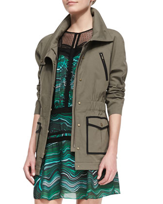 Twill Contrast-Trim Military Jacket & Bobby Camo-Print Cutoff Shorts
