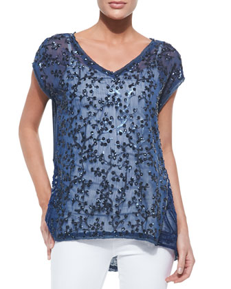 Floral Applique V-Neck Linen & Silk Top
