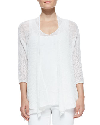 Tape Yarn Open Cardigan & Asymmetric Tank