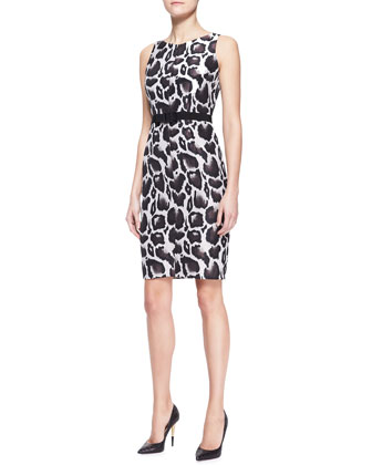 Animal Jacquard Dress, Brown/Multicolor