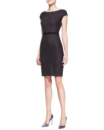 Cap-Sleeve Dress with Grosgrain Waist, Brown