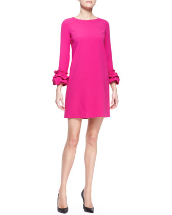 Long-Sleeve Dress with Ruffle Cuffs, Fuchsia