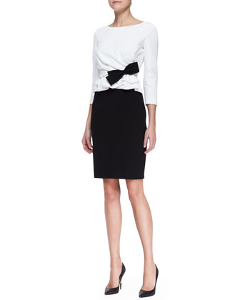 Bicolor Pleated-Front Dress with Bow, White/Black