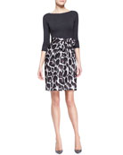 Combo Dress with Jersey Top & Leopard Skirt, Gray/Brown/Multi