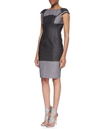 Two-Tone Twill Sheath Dress
