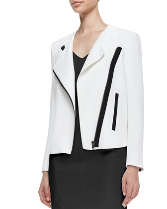Sugar Two-Tone Moto Jacket & Structured V-Neck Suiting Dress