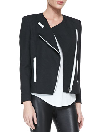 Contrast-Trim Crepe Moto Jacket & Kinetic Short-Sleeve Scoop-Neck Tee
