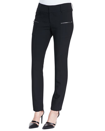 Cropped Zip-Pocket Stovepipe Pants