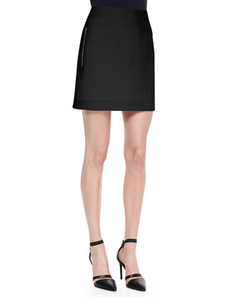 Draped Cross-Back Jersey Top & Palm Rib-Trim Suiting Skirt