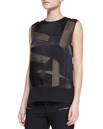 Hexa Sheer Burnout Sleeveless Top & Cropped Zip-Pocket Stovepipe Pants