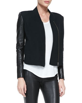 Eon Wool/Leather Jacket & Kinetic Short-Sleeve Scoop-Neck Tee