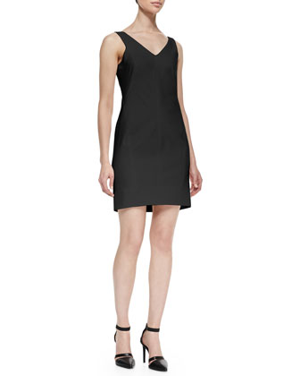Structured V-Neck Suiting Dress