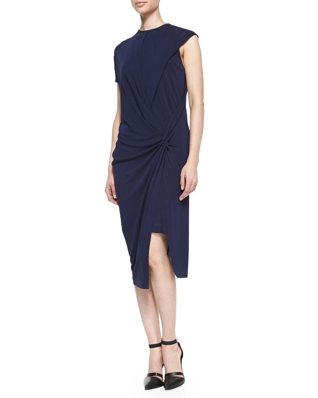 Womens Helix Twisted Draped Jersey Dress   Helmut Lang   Dark lapis (SMALL)
