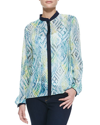 Delaney Long-Sleeve Printed Blouse